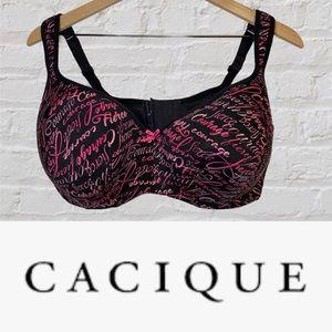 Cacique Size 40F Bra Balconette Underwire Lined